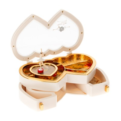 Music box with ballerina two hearts
