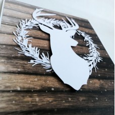 Musical New Year's author's card SNOW DEER