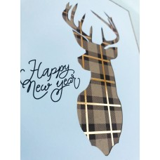 Musical New Year's author's card FOREST DEER