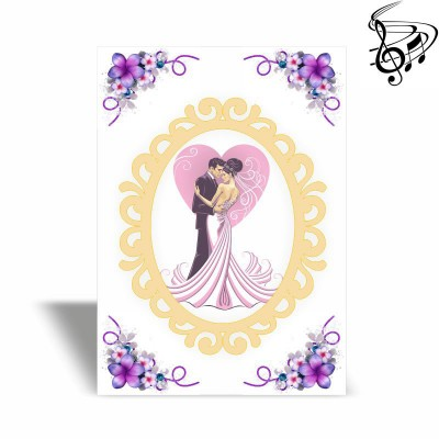 Wedding music card with your cover, text, photo and melody