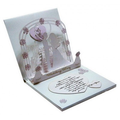 Amazing musical wedding invitation - greeting card with 3D Kirigami.